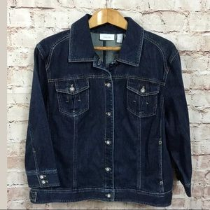 Chico's Denim Jacket 4 2X Blue Jean Jewel Buttons